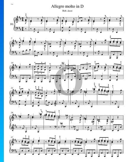 Allegro molto in D-Dur, Hob. XVII:D2 Musik-Noten