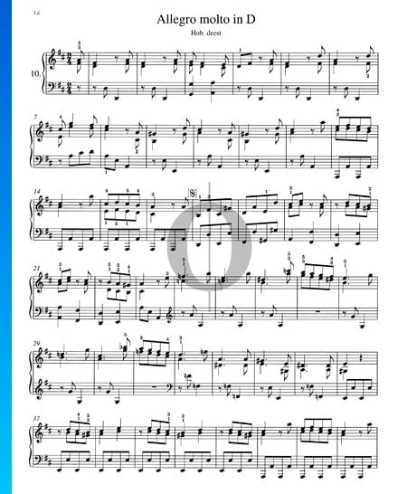 Allegro molto in D Major, Hob. XVII:D2 Sheet Music