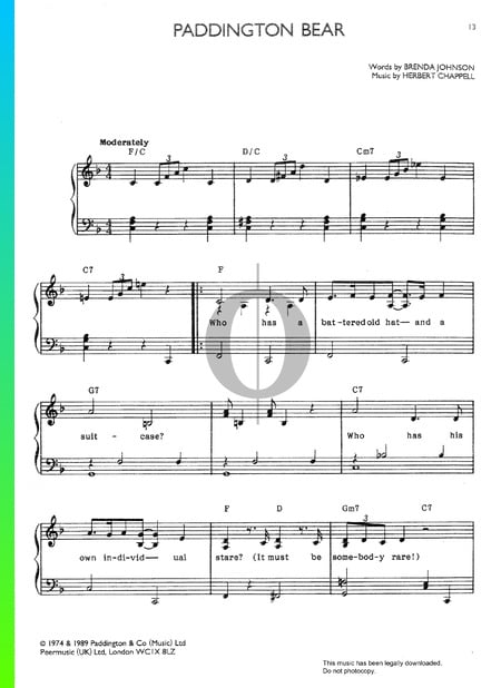 Paddington Bear Sheet Music