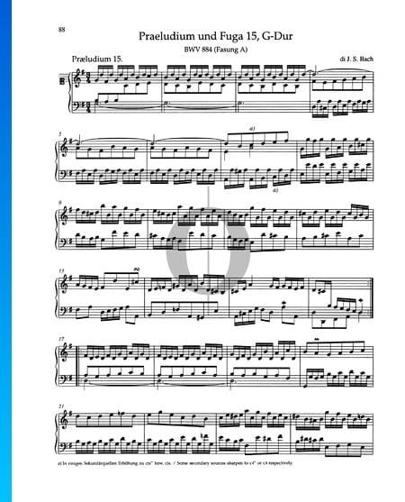 Prelude G Major, BWV 884 Sheet Music