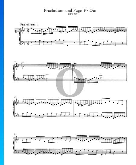 Prélude 11 Fa Majeur, BWV 856 Partition