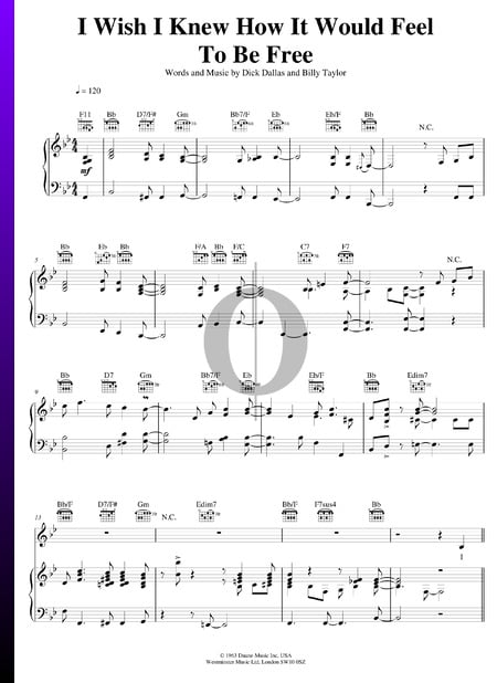 I Wish I Knew (How It Would Feel To Be Free) Sheet Music