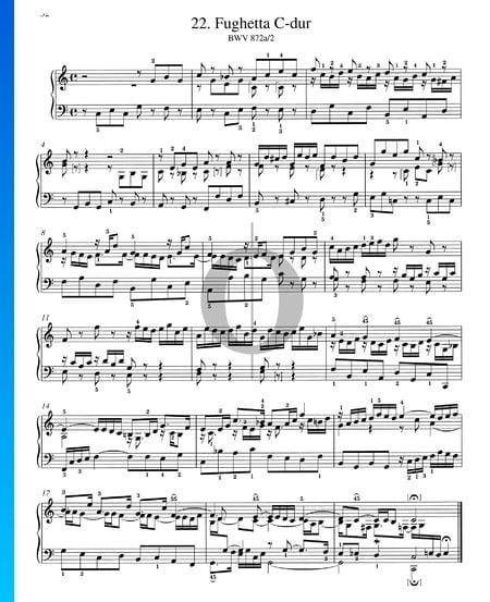 Fughetta C-Dur, BWV 872a/2 Musik-Noten