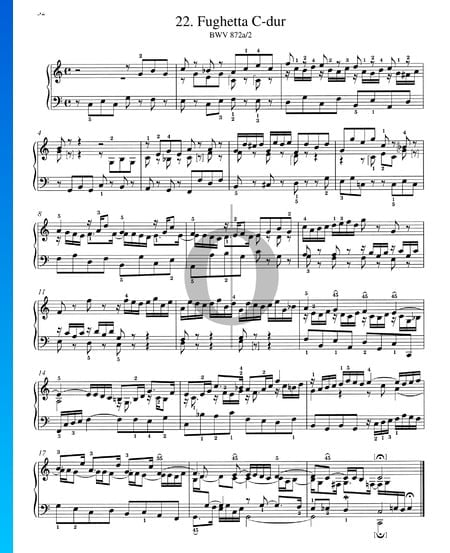 Fughetta en do mayor, BWV 872a/2 Partitura