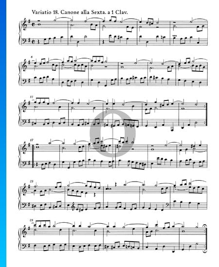 Variaciones Goldberg, BWV 988: Variación 18. Canone alla Sexta. a 1 clave Partitura