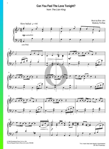 can you feel the love tonight sheet music  piano solo