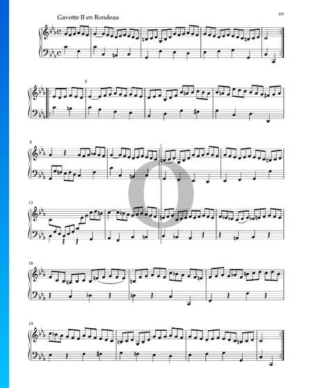Suite en Do mineur, BWV 1011: 6. Gavotte II en Rondeau Partition