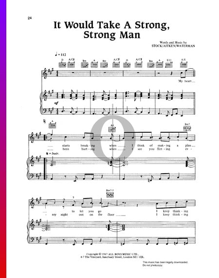 It Would Take A Strong, Strong Man Sheet Music
