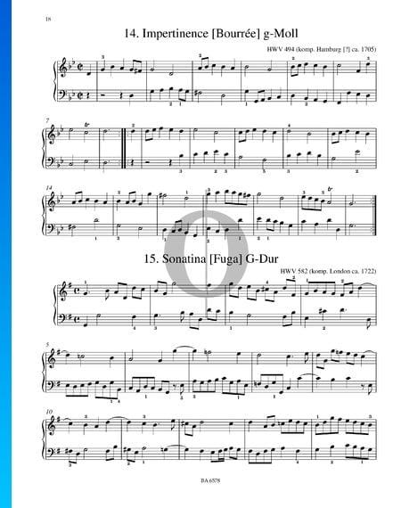 Impertinence (Bourrée) g-Moll, HWV 494 Musik-Noten