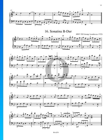 Sonatina in B-flat Major, HWV 585 Sheet Music
