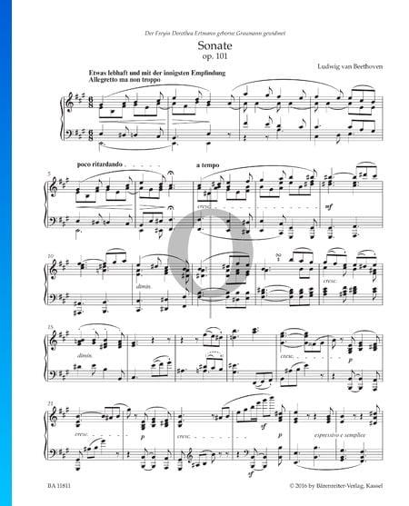 Sonate en La Majeur, Op. 101: 1. Allegretto ma non troppo Partition