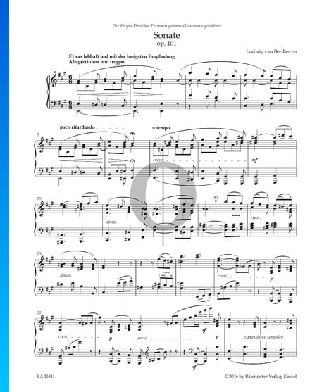 Sonate in A-Dur, Op. 101: 1. Allegretto ma non troppo Musik-Noten