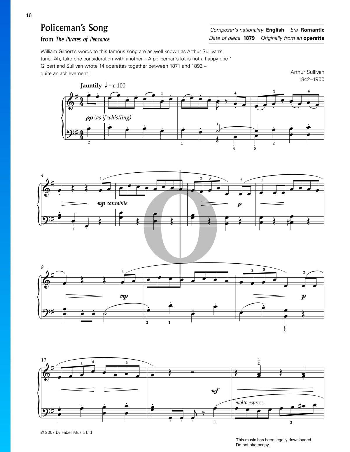 ▷ a policeman's lot is not a happy one sheet music (piano solo) - pdf  download & streaming - oktav  oktav