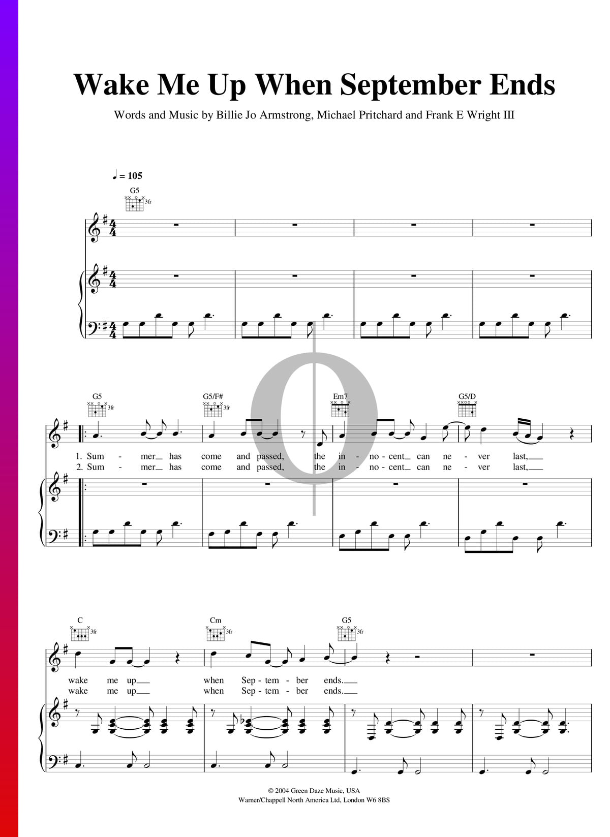 Wake Me Up When September Ends Sheet Music Piano Voice Guitar Pdf Download Streaming Oktav