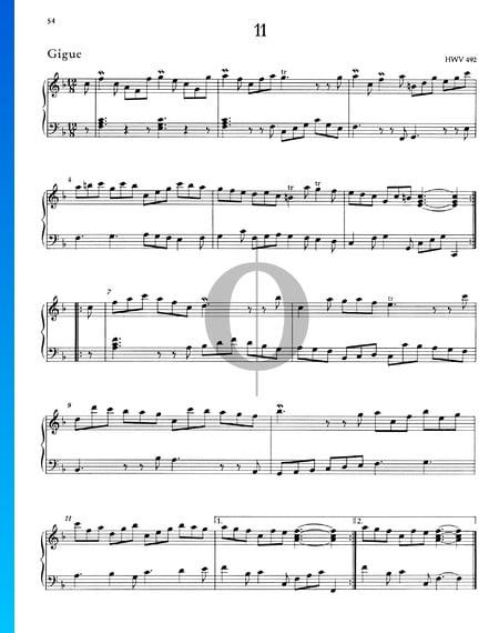 Gigue F-Dur, HWV 492 Musik-Noten
