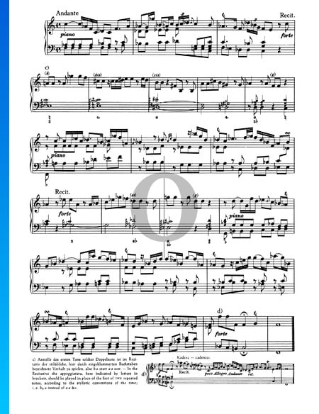 Sonata No. 1, Wq 48: 2. Andante Sheet Music