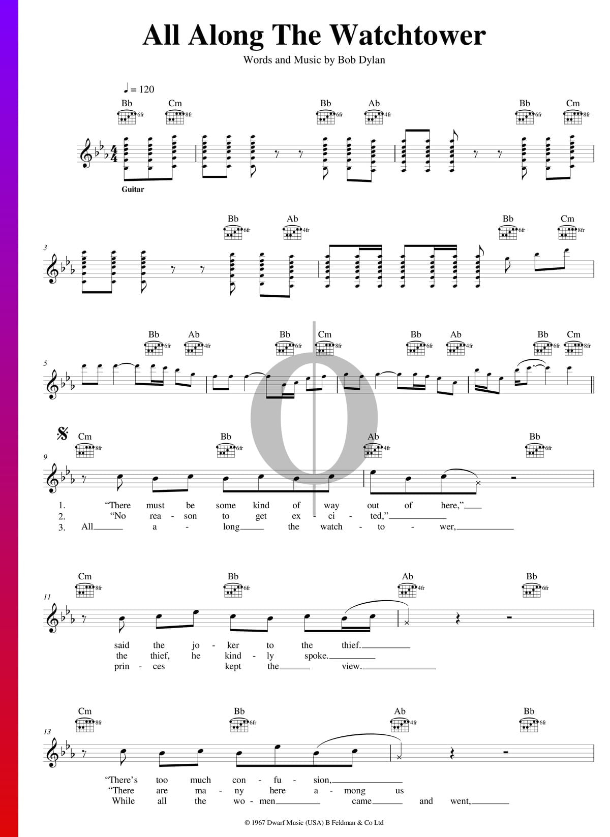 ▷ All Along The Watchtower Sheet Music Piano, Guitar, Voice ...