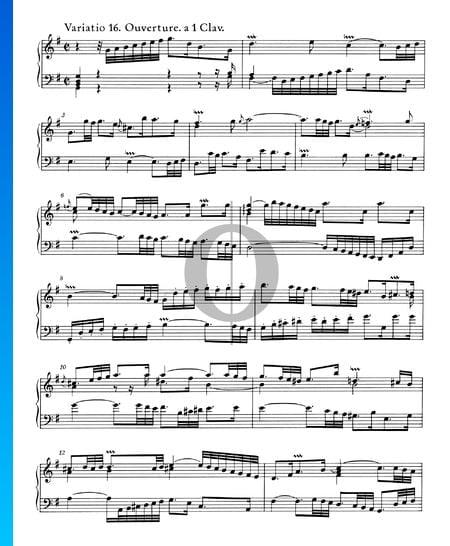 Goldberg Variationen, BWV 988: Variatio 16. Ouverture. a 1 Clav. Musik-Noten