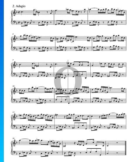 Concierto en sol menor, BWV 985: 2. Adagio Partitura