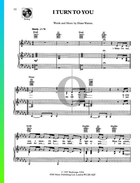 I Turn To You Musik-Noten