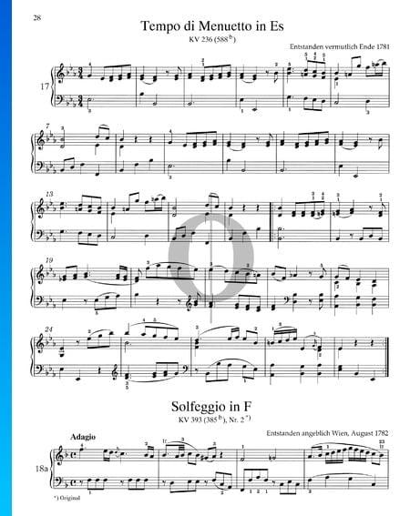 Tempo di Menuetto in Es-Dur, KV 236 (588b) Musik-Noten