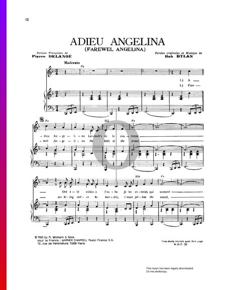 Adieu Angelina (Farewell Angelina) Musik-Noten