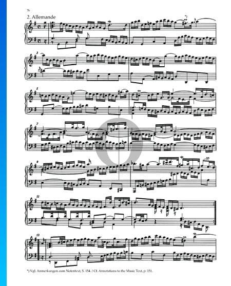 Partita 5, BWV 829: 2. Allemande Sheet Music