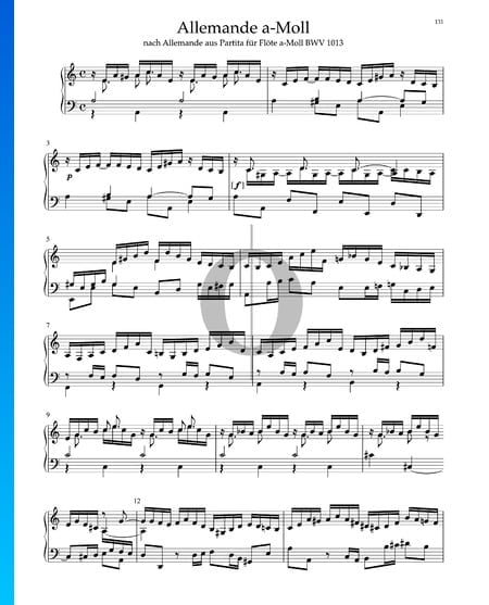 Allemande in A Minor from Partita for Flute, BWV 1013 Sheet Music