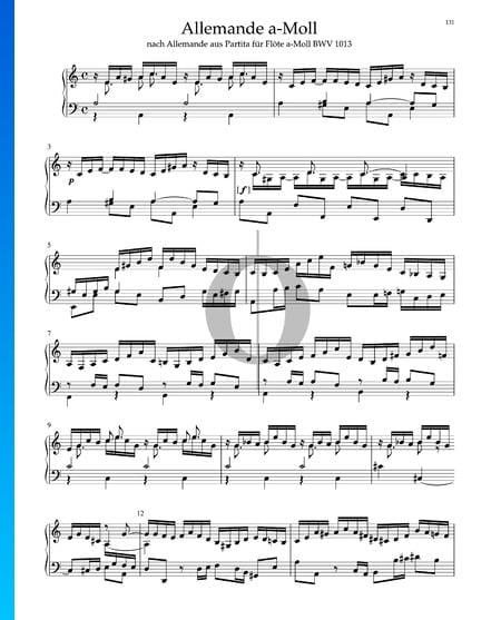 Allemande in a-Moll aus Partita für Flöte, BWV 1013 Musik-Noten