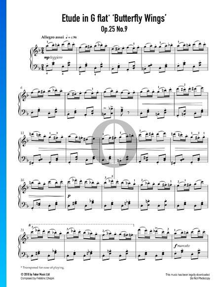 """Etüde in Ges-Dur, Op. 25 Nr. 9 (""""Schmetterlingsetüde"""") Musik-Noten"""