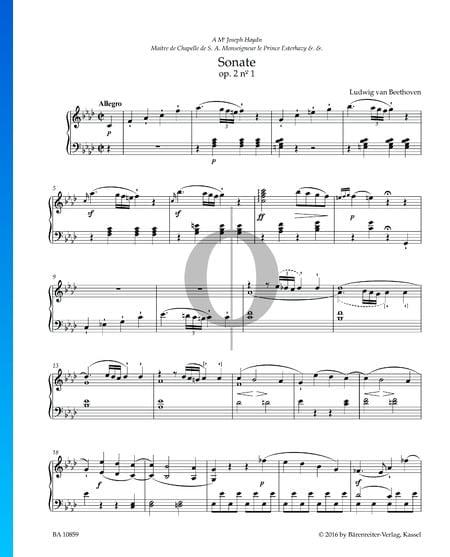 Sonata in F Minor, Op. 2 No. 1: 1. Allegro Sheet Music