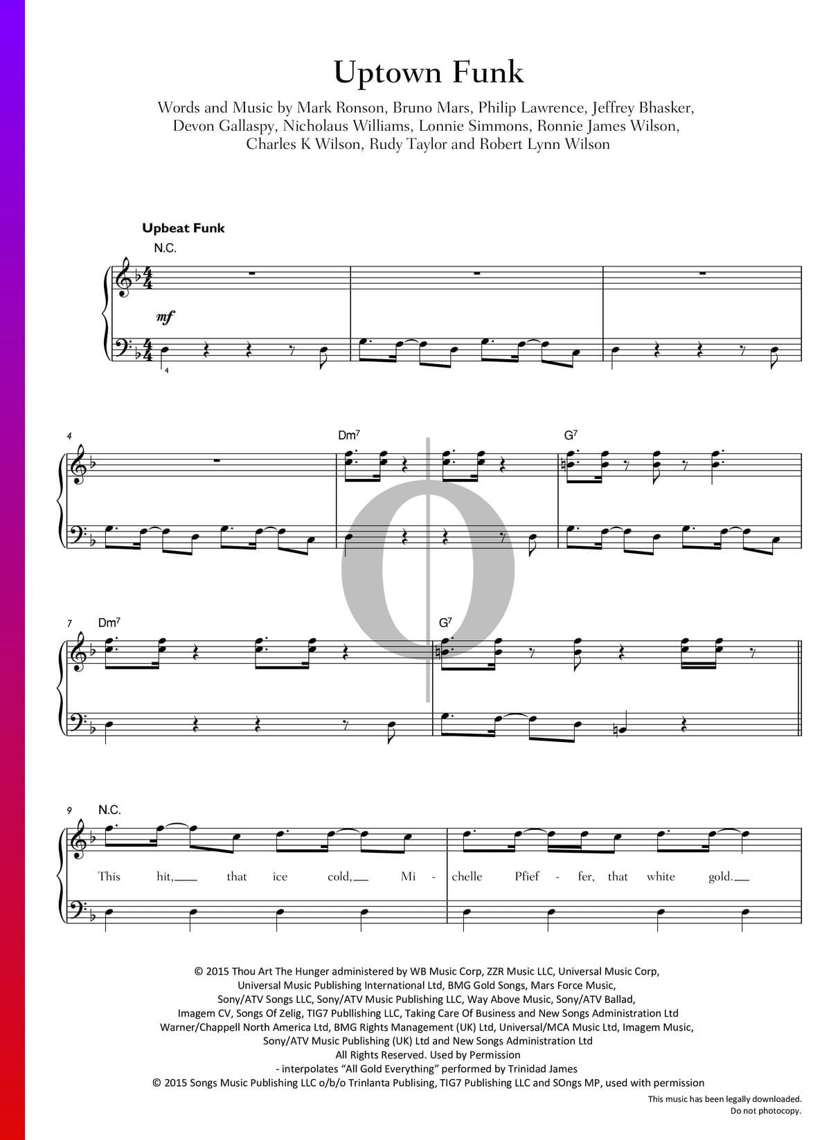 Uptown Funk Sheet Music Piano Voice Pdf Download