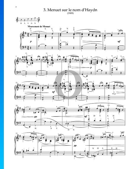 Menuet sur le nom d'Haydn, M.58 Musik-Noten