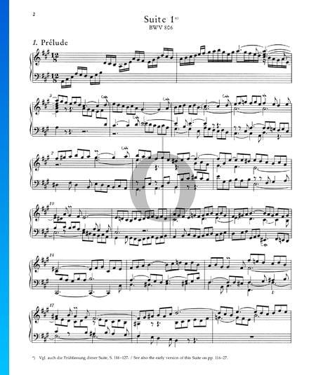 Englische Suite Nr. 1 A-Dur, BWV 806: 1. Prélude Musik-Noten