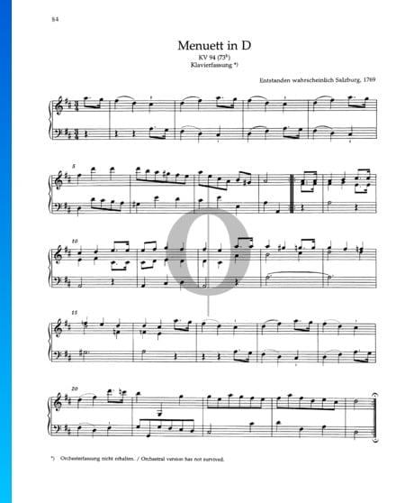 Menuett D-Dur, KV 94 (73h) Musik-Noten