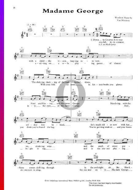 Madame George Sheet Music