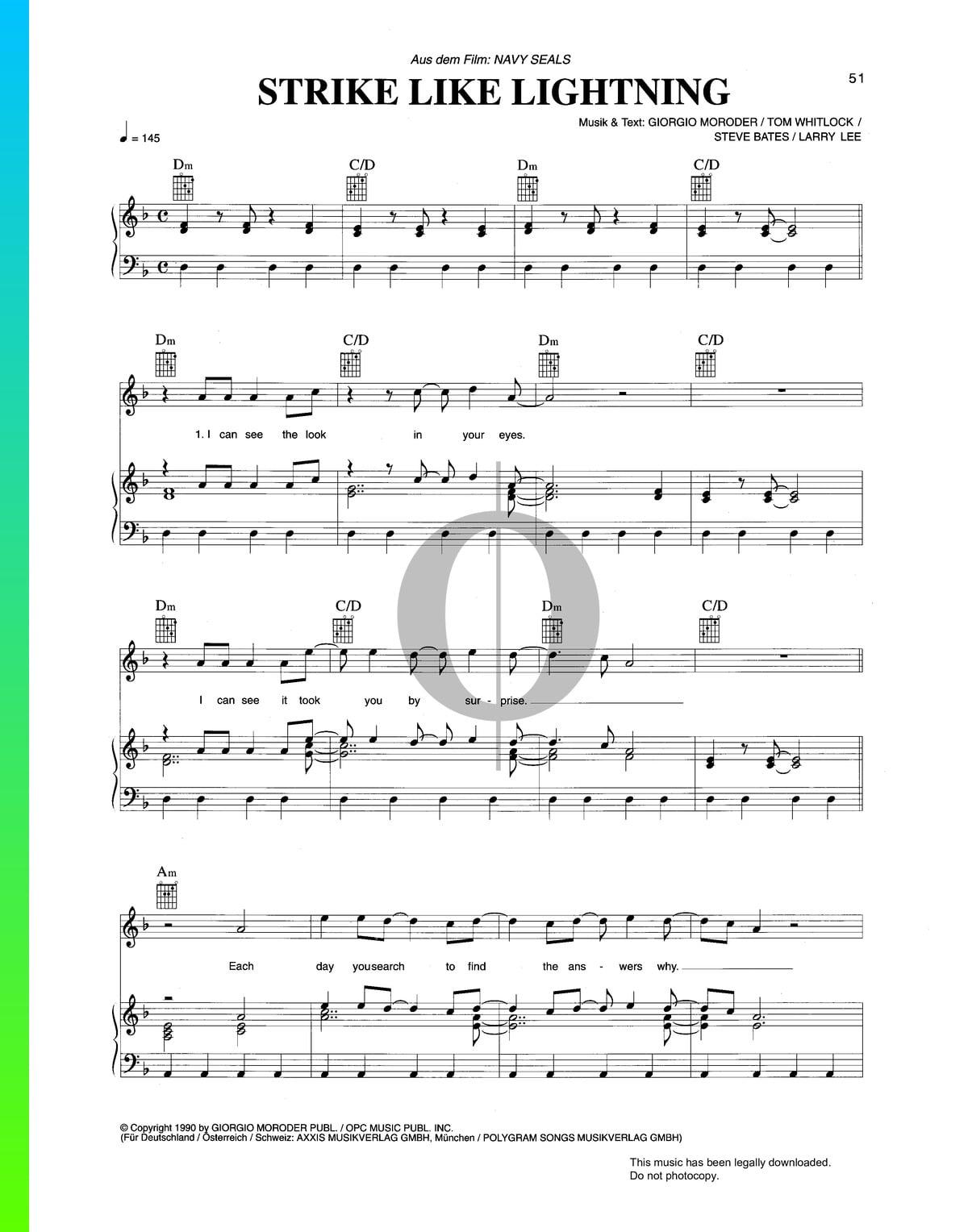 ▷ Strike Like Lightning Sheet Music (Piano, Voice, Guitar