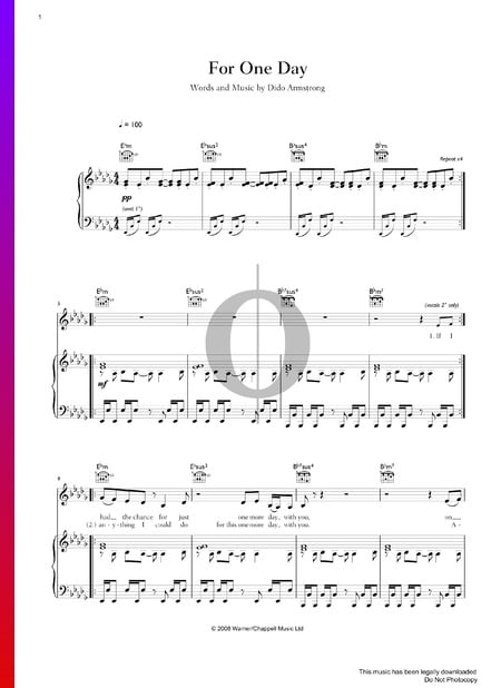 For One Day Sheet Music