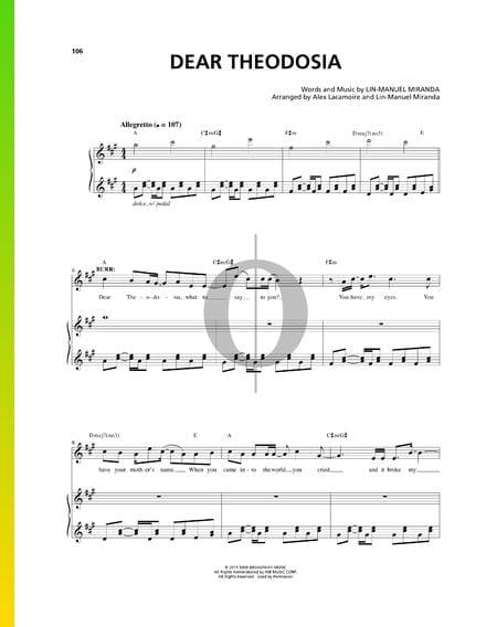 Dear Theodosia Musik-Noten