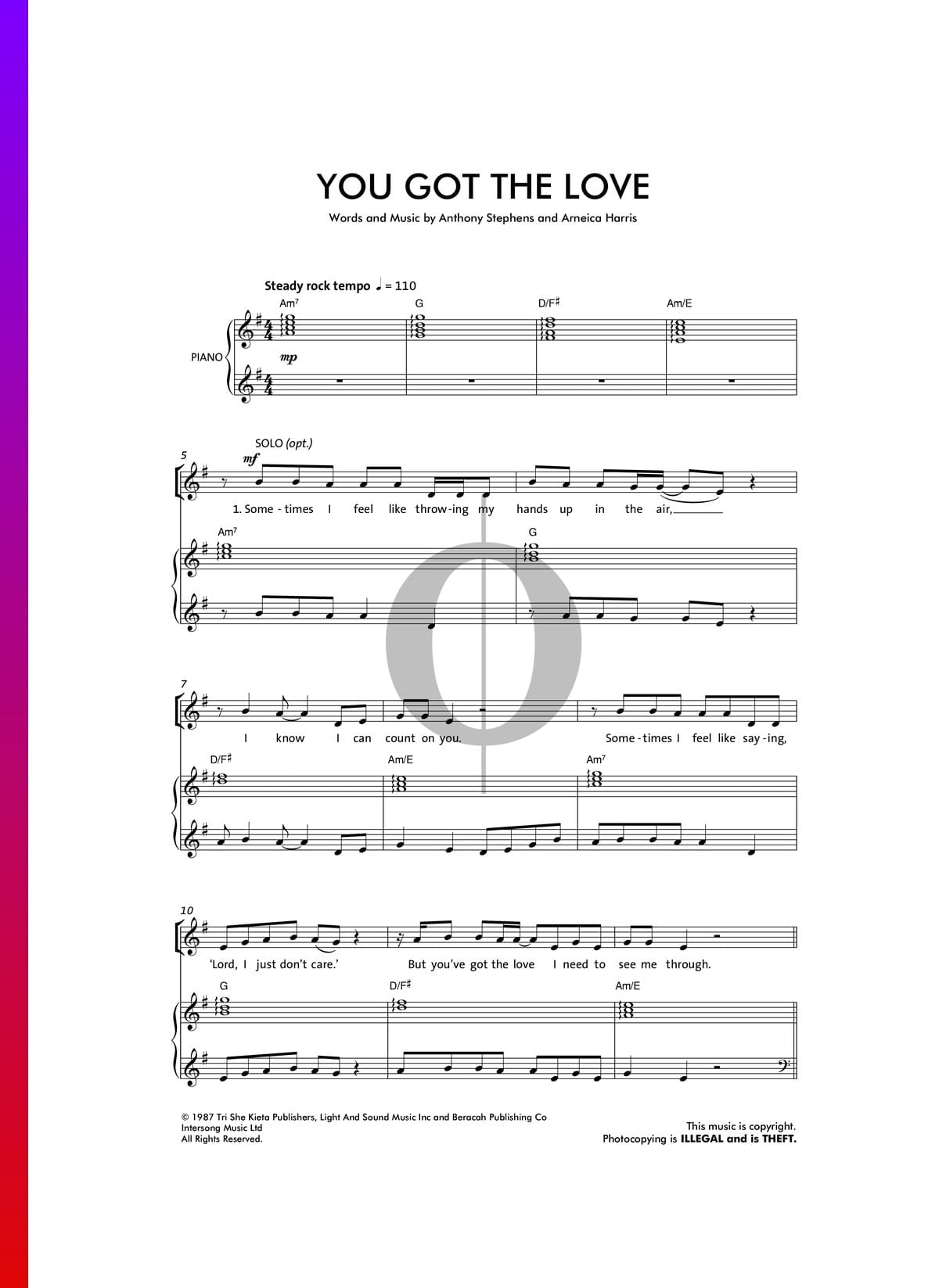 Youve Got The Love Sheet Music Piano Voice Guitar