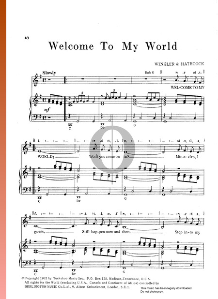 Welcome To My World Musik-Noten