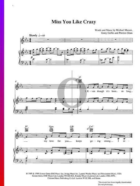 Miss You Like Crazy Sheet Music
