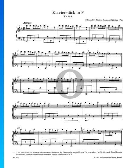 Klavierstück F-Dur, KV 33b Musik-Noten