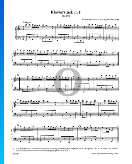 Piece in F Major, Kv 33b Sheet Music