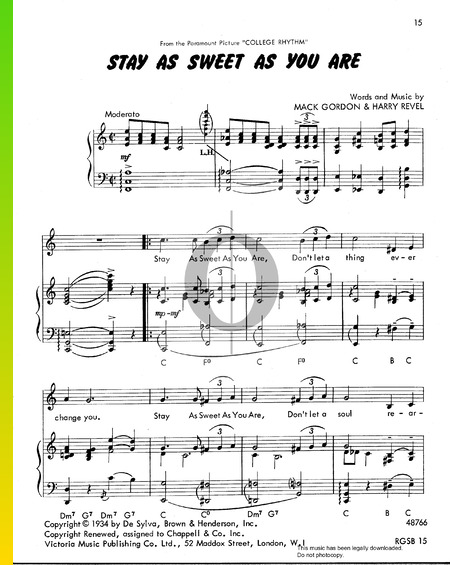 Stay As Sweet As You Are Sheet Music