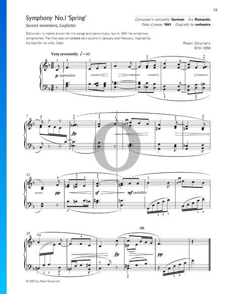 Symphonie No. 1 en Si bémol Majeur, Op. 38 (Le Printemps): 2. Larghetto Partition