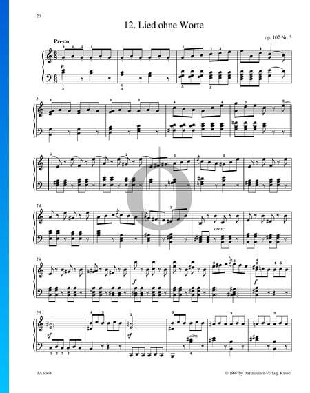 Lied ohne Worte, Op. 102 Nr. 3 Musik-Noten