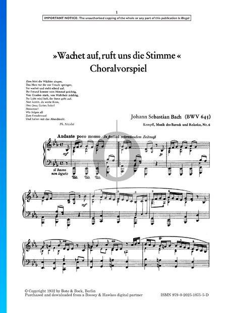 Wachet auf, ruft uns die Stimme, BWV 645 Sheet Music