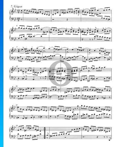 Englische Suite Nr. 3 g-Moll, BWV 808: 7. Gigue Musik-Noten