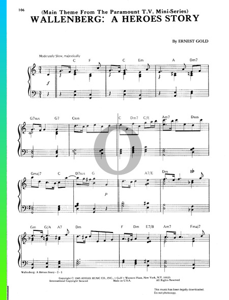 A Heroes Story (Wallenberg) Musik-Noten